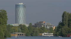 Floreasca Sky Tower in Bucharest Stock Footage