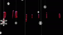 Happy Holidays with floating Paper Flakes, against black Stock Footage
