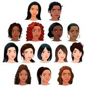Indian, black, asian and latino women. - stock illustration