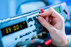 use of electronic measurement instruments - stock photo