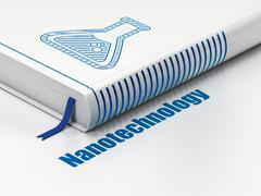 Science concept: book Flask, Nanotechnology on white background - stock illustration