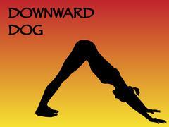 Yoga Woman Downward Dog Pose Stock Illustration