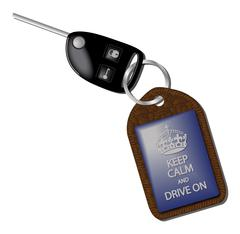 Keep Calm And Drive On Keyring - stock illustration