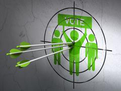 Stock Illustration of Politics concept: arrows in Election Campaign target on wall background