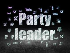 Politics concept: Party Leader in grunge dark room - stock illustration