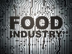 Manufacuring concept: circuit board with Food Industry Stock Illustration