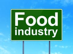 Industry concept: Food Industry on road sign background - stock illustration