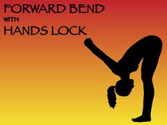 Yoga Woman Forward Bend With Hands Lock Pose - stock illustration