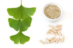 Ginkgo capsules with three leaves Stock Photos