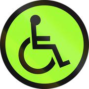 Road sign in the Philippines - Handicapped crossing sign - stock illustration
