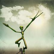 Alien in desert - stock illustration