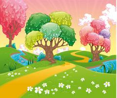Stock Illustration of Fantasy landscape.