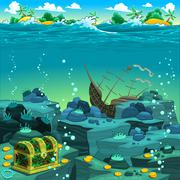 Seascape with treasure and galleon. - stock illustration