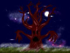 Stock Illustration of Creepy leafless tree