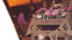 Slider shot of entrance to wedding venue - stock footage