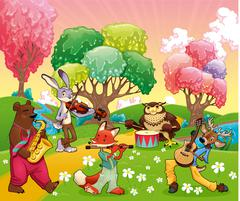 Musician animals in a fantasy landscape. Stock Illustration