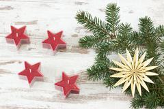 Red advent stars - stock photo