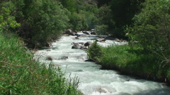 Fine weather in mountains and the river flows on stones - stock footage