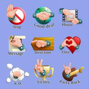 Web Social Gestures Emblems Set - stock illustration