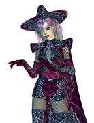 Female evil witch - stock illustration