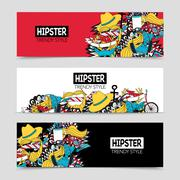Hipster 3 interactive horizontal banners set - stock illustration