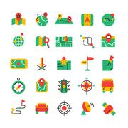 Color Navigation Icons Set - stock illustration