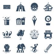 Circus icons set - stock illustration