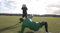 Cinematic shot of a football keeper training - stock footage