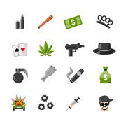 Flat Isolated Gangster Icons Stock Illustration