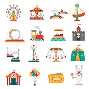 Amusement Park Icons Stock Illustration