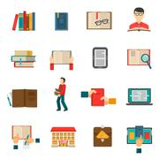 Library Icons Set Stock Illustration