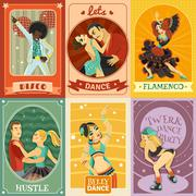 Vintage Dance Flat Icons Composition  Poster Stock Illustration