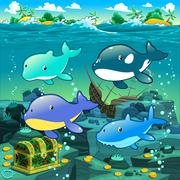 Seascape with treasure, galleon and fish. Stock Illustration