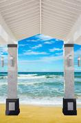 Veranda on the beach sand Stock Photos