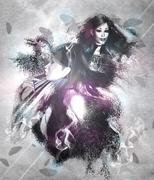 Girl with ravens manipulation - stock illustration