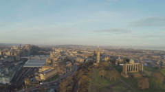 Aerial shot over Calton Hill in Edinburgh, Scotland. Stock Footage