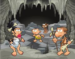 Funny prehistoric family in the cavern. - stock illustration