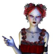 Gothic girl in red dress - stock illustration