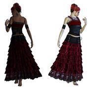 Gothic girl in red dress Stock Illustration