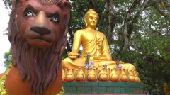 Buddha statue with beautiful lion Stock Footage