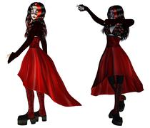Gothic woman in red dress Stock Illustration