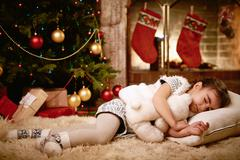 Sleeping on x-mas eve Stock Photos
