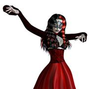 Gothic woman in red dress - stock illustration