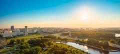 Panoramic view, cityscape of Minsk, Belarus. Summer season, suns Stock Photos