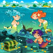 Seascape with mermaids and triton. - stock illustration