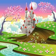 Stock Illustration of Panorama with castle.