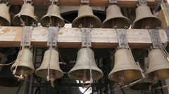 Stock Video Footage of Bells at Bell Tower of St. Michael's Monastery Bells of Different Size Panorama