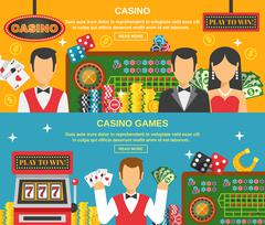 Casino And Gambling Banners Set - stock illustration