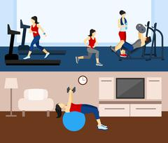 Fitness Workout Banner - stock illustration