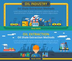 Oil industry banner set - stock illustration